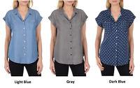 Jachs Girlfriend Women's Short Sleeve Tencel Button Down Shirt Blouse, NWT