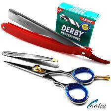 3er Herrenpflegeset Bartschere Rasiermesser mit Rasierklingen Pinzette NATRA