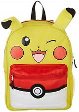 """Pokemon Pikachu Ears with Pouch 16"""" Backpack with two main compartments-New!"""