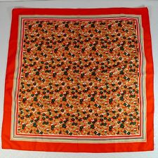 Vintage Red Green Floral Scarf Made in Italy 26 x 26 Square