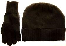 Black 100% Pure cashmere Hat and Glove gift set Ski beanie Winter Cap skull