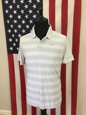 Nike Golf Zonal Cooling Polo Shirt mens Large striped white Swoosh Wicking 17740
