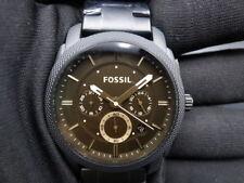 New Old Stock - FOSSIL MACHINE FS4682 - Dk Brown Dial Black SS Quartz Men Watch