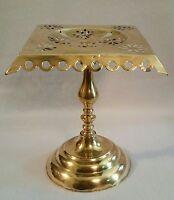 "Mid 19th C. Victorian Antique English Pierce-Work Brass Trivet Stand 10-1/4"" h."