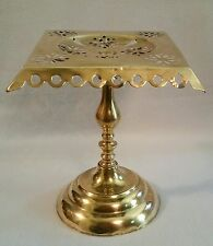 "Mid 19th C. Victorian Antique English Pierce-Work Brass Trivet Stand 10-1/4"" h."