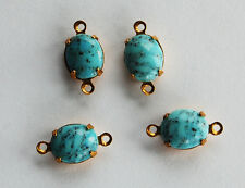 VINTAGE 4 HIGH DOME GLASS OVAL CONNECTOR BEADS • TURQUOISE MATRIX • 8x10mm