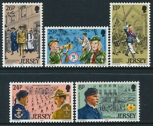 1982 JERSEY SCOUTS/YOUTH ORGANISATIONS SET OF 5 FINE MINT MNH
