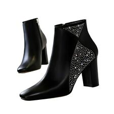Women's Rhinestone Ankle Boots Square Toe High Heel Booties Sexy Party Shoes