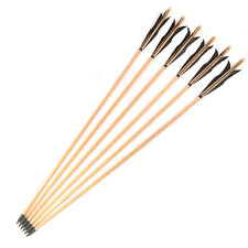 """X12 31""""Wooden Arrows Black Elf Feather Archery Recurve Bow Hunting Sports outdo"""