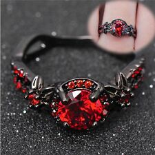 Jewelry Engagement Black Gold Filled Wedding Rings Zircon Stone Red Garnet