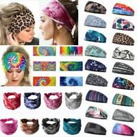 Women Wide Elastic Turban Head Bands Hair Wraps HeadBands Boho Sports Yoga #
