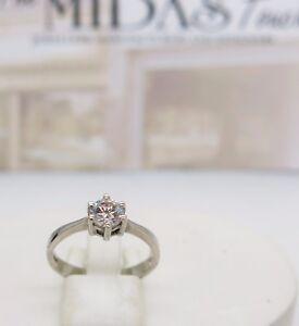 9ct white gold single stone cubic zirconia engagement ring size O