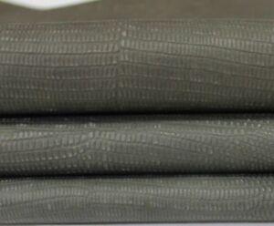 PETROL GREEN REPTILE EMBOSSED veg tan Italian Lambskin leather skin 7sqf #A3953
