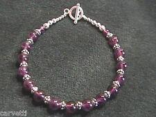 "Amethyst and Sterling Silver Bali Bead Bracelet - 8.5"""