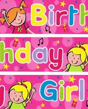 Fun House HAPPY BIRTHDAY GIRL Pink Stars Banner Garland Party Decoration 9ft