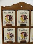 Vintage Mid Century Rooster Wood Ceramic Spice Wall Rack