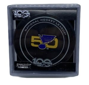 2016-17 St. Louis Blues 50th Anniversary Official Game Puck Playoffs NHL 100th