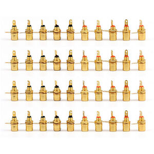 40 PC Gold Plated RCA Phono Chassis Panel Mount Female Socket Adapter BK