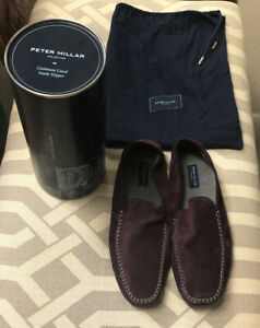 Peter Millar Collection Cashmere Lined Suede Slipper. Size 10. $248. Purple.