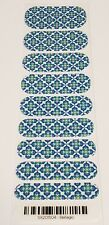 Jamberry Nail Wraps BELLAGIO Half 1/2 Sheet blue green white tile graphic denim