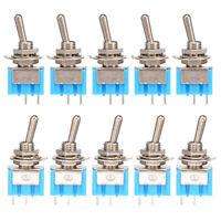 2 Position 6MM SPST Latching Mini Toggle Switch 6A 125V AC 3A 250V AC 10PCS Kit