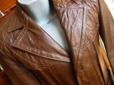 SMALL 38 True Vtg 70s MENS BROWN LEATHER BUCKSKIN QUILTED MEXICAN ROCKER JACKET