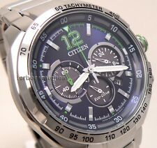CITIZEN MEN ECO DRIVE CHRONO TACHY BLUE FACE STAINLESS STEEL 100m CA4230-51L cg