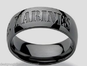 United States Marines Ring Stainless Steel Black Gun Metal US Military SZ 8-13