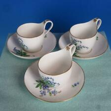 Meissen Crossed Swords - Green Flowers - 3 Cup and 3 Saucers