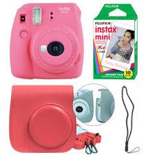 Fujifilm Instax Mini 9 Instant Film Camera Flamingo Pink + Case & 10 Film Sheets