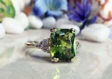 3.50Ct Emerald Cut Peridot & Diamond Engagement Ring 14K Yellow Gold Over