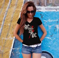 AC/DC Women Black T-shirt ACDC Rock Band Fan Tee Shirt