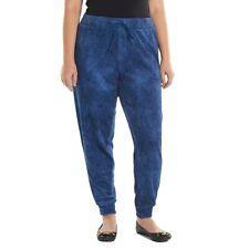 JUICY COUTURE Womens Plus Blue Indigo Faux-Denim Velour Jogger Pants Size 1X