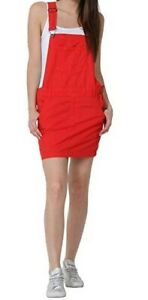 Short Oversized Red Dungaree Overall Dress - Orange (C-Red)