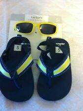 Carter's Sunglass & Flip Flop Set Navy Blue and Yellow Size 5 NWT