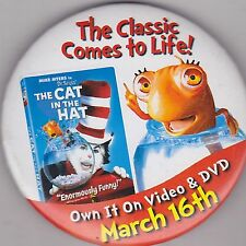 """VINTAGE 3"""" PINBACK #28-164 - MOVIE - DR. SEUSS'S THE CAT IN THE HAT"""