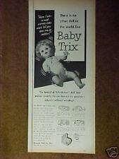 1954 Baby Trix Uneeda Doll Co Life-Action Girl Vintage Toy Print Ad
