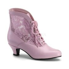 "Gorgeous 2"" Pink & Lace Victorian Granny Pioneer Cosplay Ankle Boots Witch 6-12"