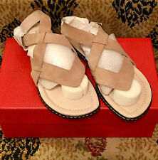 NEW 7.5 $185 Donald J Pliner Gessi Powder Suede Leather Ankle Strap Thong Sandal