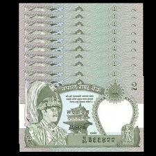 Lot 10 PCS Banknotes, Nepal 2 Rupees, 1981, P-29, UNC