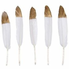 Natural Goose Feather 4-6inch/10-15cm WHITE / GOLD TIP  UK Seller
