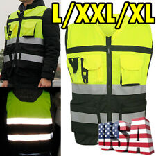 Hi-Vis Safety Vest Reflective Driving Jacket Worker Night Security Waistcoat-Us