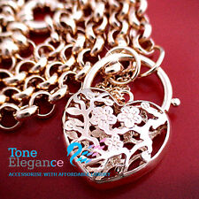18k yellow gold filled lady filigree heart padlock solid belcher chain Necklace
