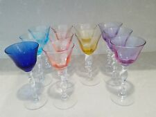 """11 Art Studio Hand Blown Glass 9.5"""" Different Colors Tall Wine Goblets"""