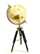 VINTAGE STYLE WORLD GLOBE ON WOODEN TRIPOD STAND