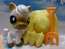 ❤️Littlest Pet Shop #739 WHITE HORSE PONY DIAMOND GREEN EYES COW BOY HAT LPS❤️