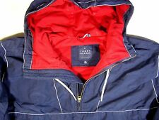 TOMMY HILFIGER HALF ZIP PULL OVER SAILING JACKET BLUE HOODED WINDBREAKER LINED L