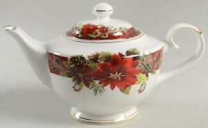 Grace's Teaware Plaid Poinsettia Tea Pot 11719243