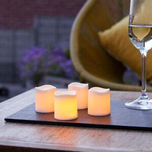 4 PC Outdoor Battery Power LED Flameless Flickering Tea Light Candles | Garden