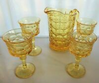 Tiara Indiana Glass Yellow Mist Constellation Pitcher & 8 oz Goblets 5 piece Set